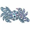 Motif Glitter Leaves with stones 28x13cm Aqua Crystal Aurora Borealis